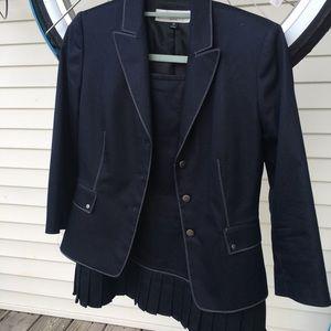 Tahiri 3/4 sleeve skirt suit (blue and white)